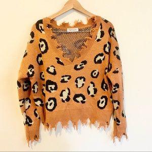 Boutique Distressed Leopard Print Sweater